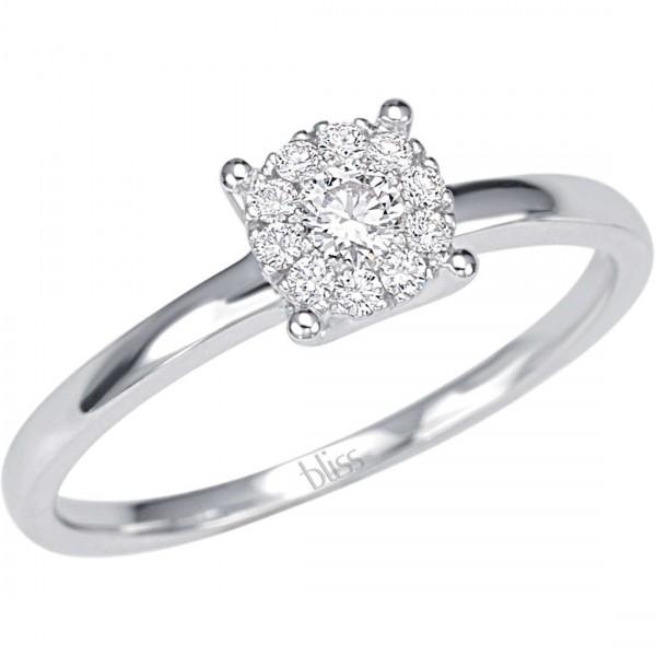 shopping vendita calda genuina prima clienti Bliss Anello solitario con diamante centrale e 10 intorno da 0.20 kt G/VS  in oro bianco 18 kt