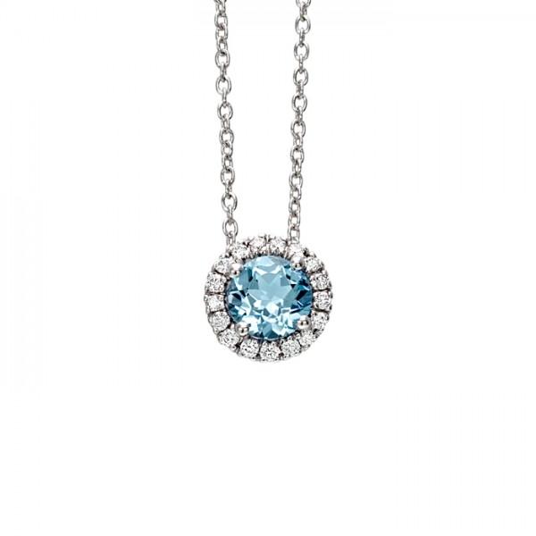 più economico 43601 85ca3 Bliss collana con 17 diamanti da 0.04 kt totali e acquamarina da 0.20 kt in  oro bianco 18 kt