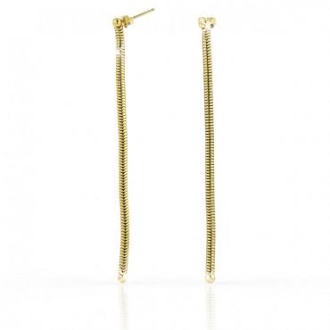 più foto 5f561 13f92 1AR by UnoAerre orecchini pendenti tubolari in bronzo oro giallo
