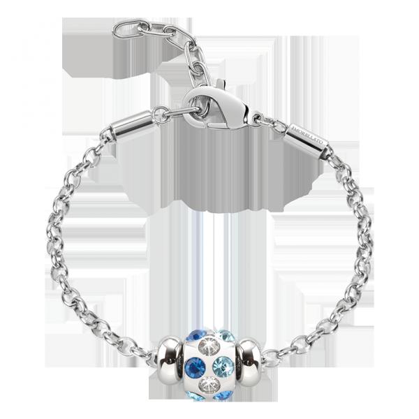 9ff7858dc7258d Morellato bracciale donna della collezione drops con charm tondo ricco di  cristalli di colore bianco, celeste e blu. La chiusura è regolabile con ...