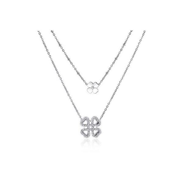 8b4582353efecb S'Agapo, marchio Brosway, collana da donna in acciaio a due fili uno più  lungo dell'altro da cui pende un quadrifoglio, quello più piccolo in acciaio  lucido ...